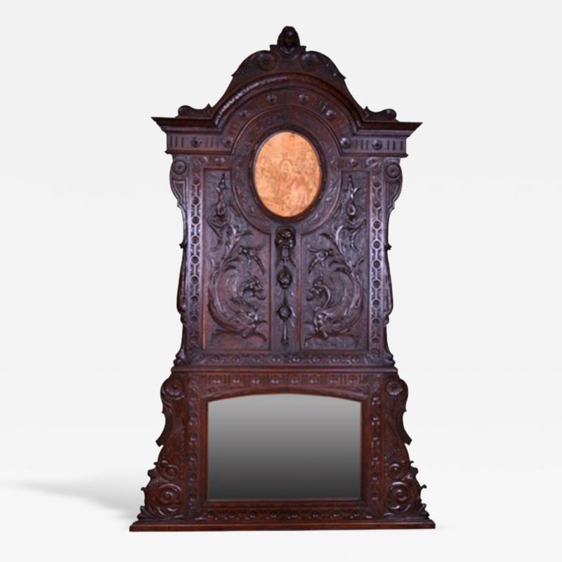 French Oak Over Mantel Mirror Renaissance Revival 19th C