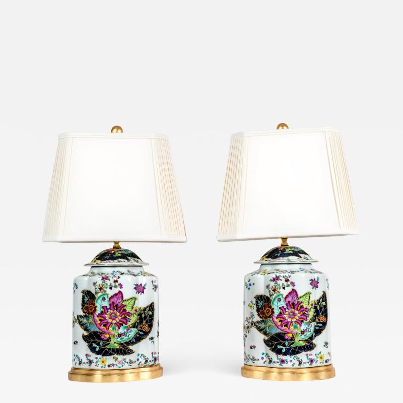 French Porcelain Late 20th Century Pair Lamps with Wood Base