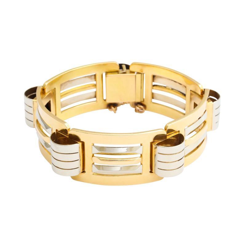 French Retro 18K White Yellow Gold Bracelet