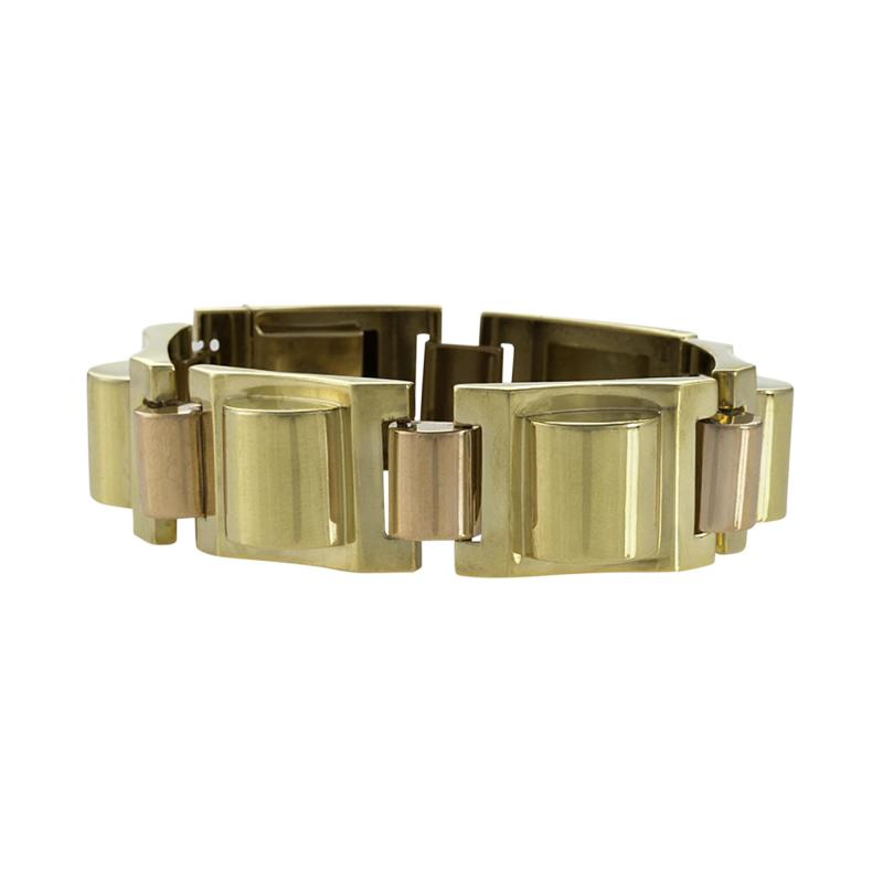 French Retro Gold Tank Track Bracelet