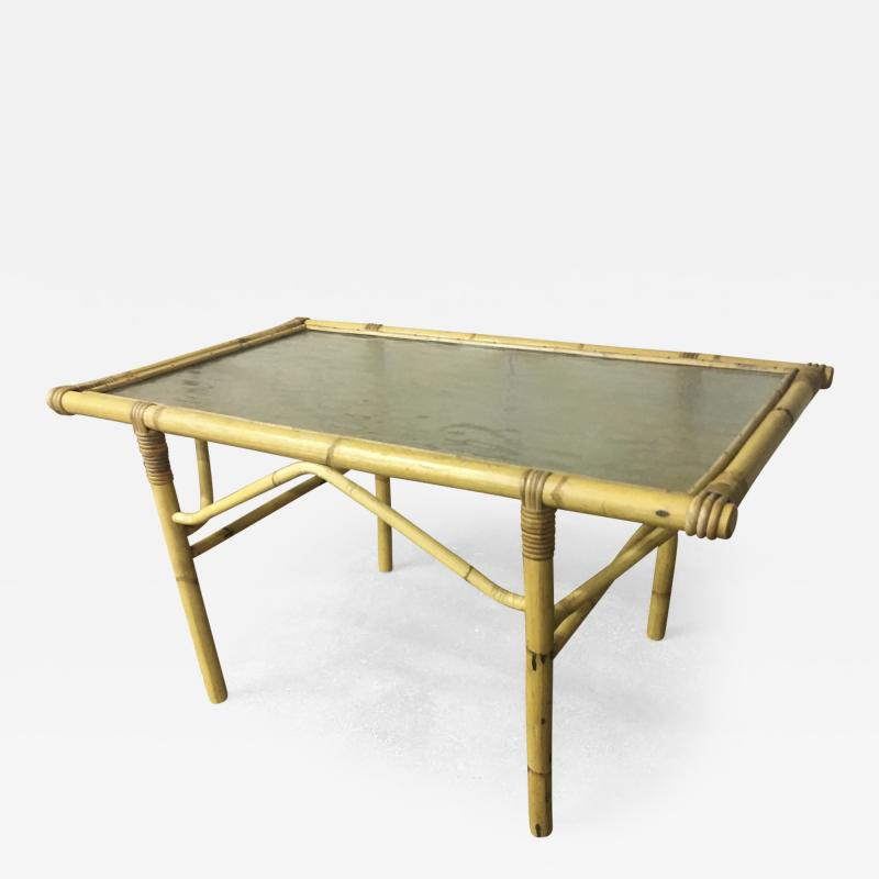 French Riviera Coffee Table In Bamboo And Glass Top - Bamboo end table glass top