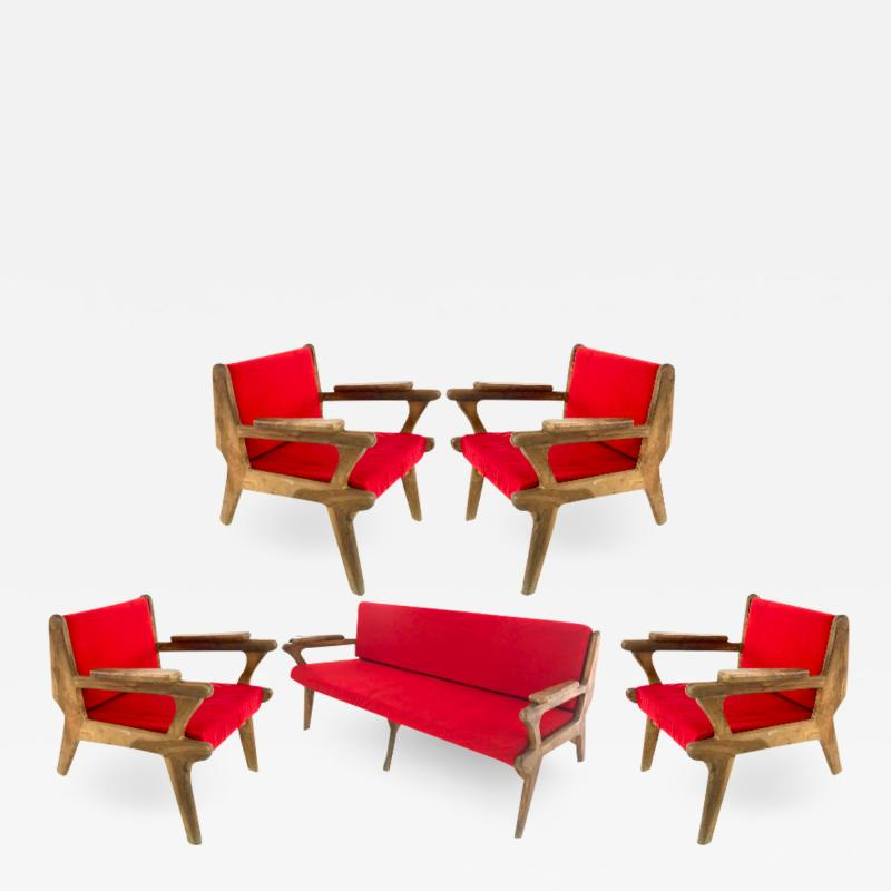 French Riviera awesome olive tree brutalist seating set of 1 couch and 4 chairs