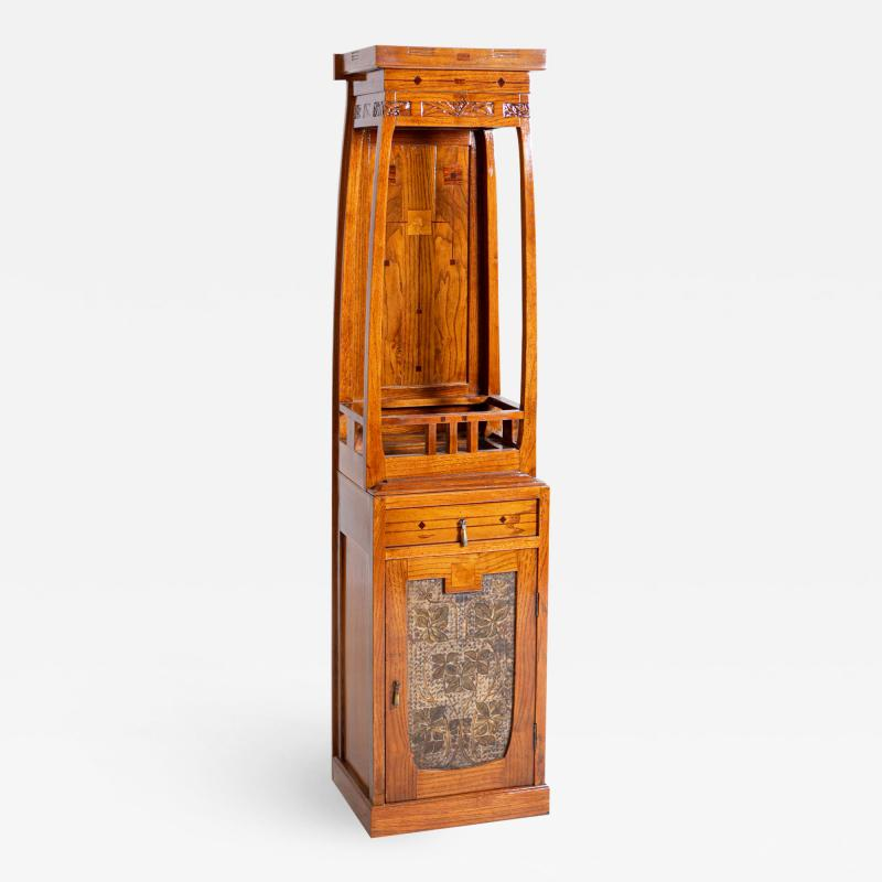 French School Antique French Liberty Cabinet in Painted Wood Art Nouveau