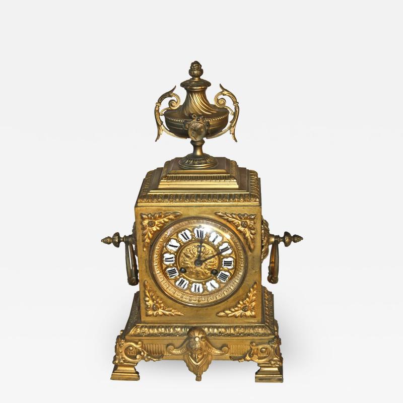 French Second Empire Bronze Dore Mantle Clock