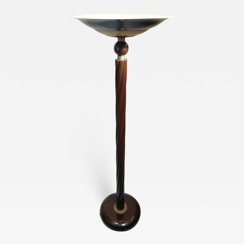 French Style Art Deco Wood and Brass Floor Lamp Torchiere