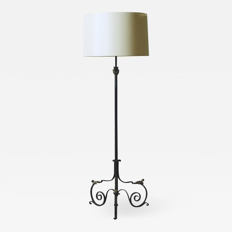French Wrought Iron Floor Lamp with Gilding