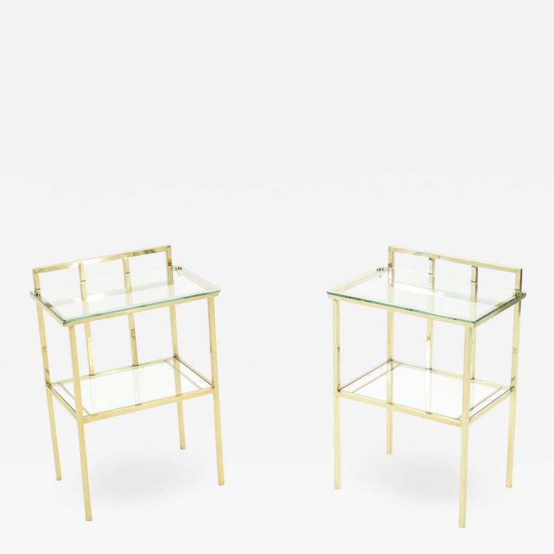 French brass two tier glass end tables Attr Marc Du Plantier 1960s