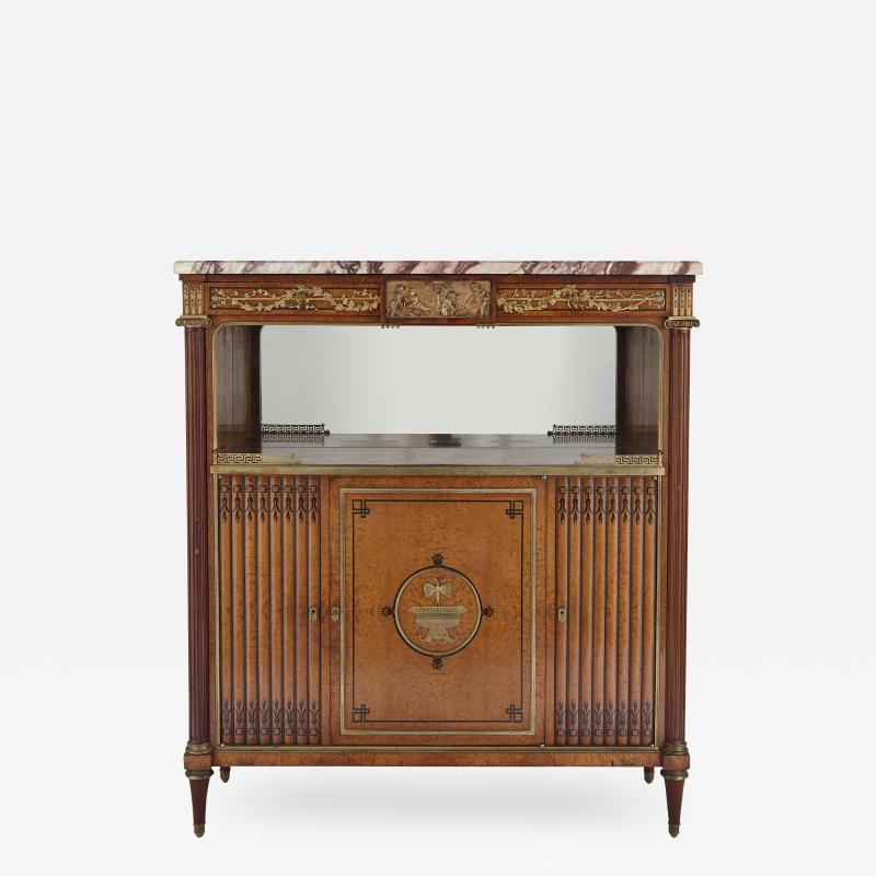 French marble gilt bronze and amboyna burl side cabinet