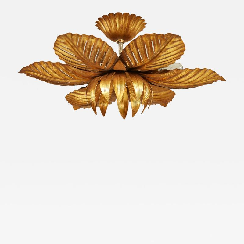 French mid Century gold palm leaf ceiling pendant