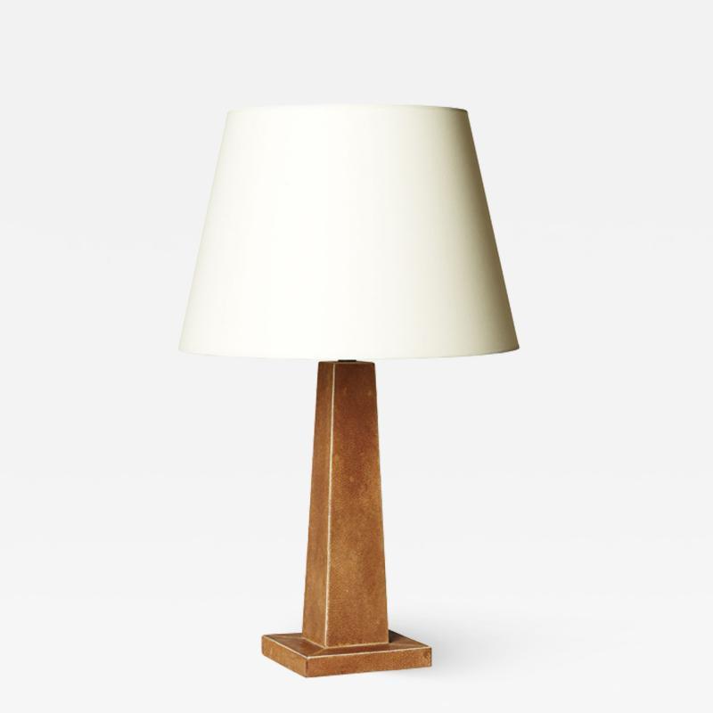 French obelisk table lamp in shagreen