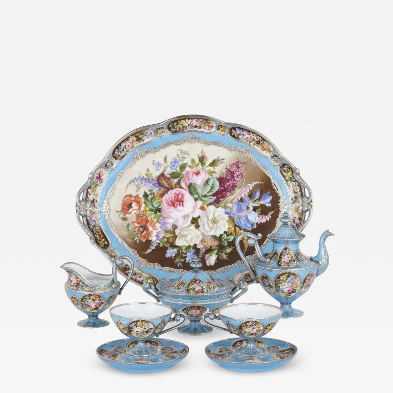 French silver and bleu celeste porcelain tea set