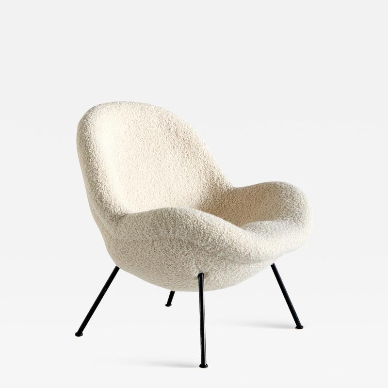 Fritz Neth Fritz Neth Egg Shaped Lounge Chair in Ivory Dedar Boucl Correcta Kassel 1950s