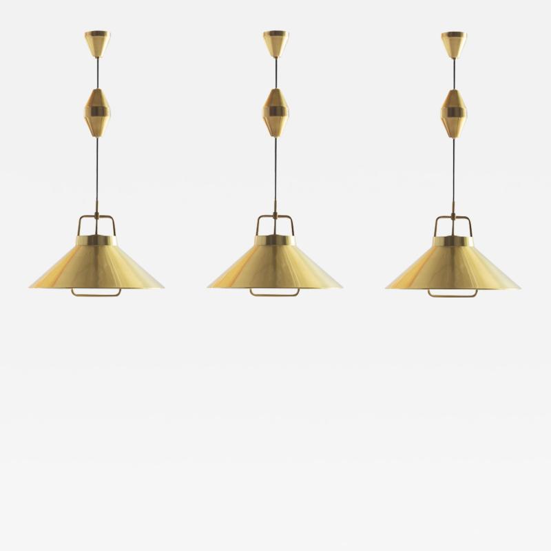 Fritz Schlegel 3 x Frits Schlegel P295 brass pendants for Lyfa Denmark 1960s