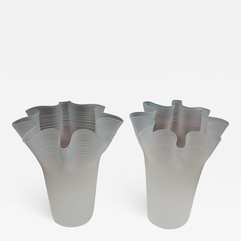 Frosted Glass Italian Handkerchief Vases