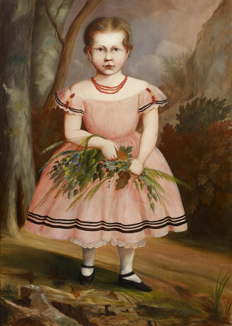 Full Length Portrait of a Young Girl Wearing a Pink Dress