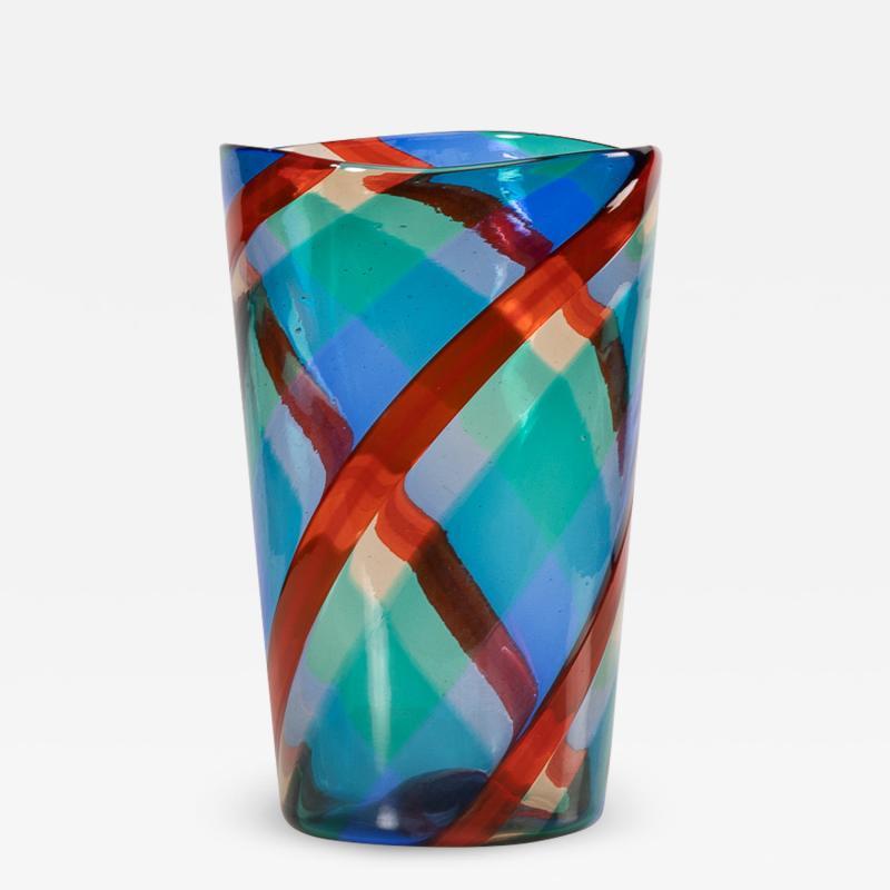 Fulvio Bianconi Fulvio Bianconi Twisted canes vase for Venini Murano Italia