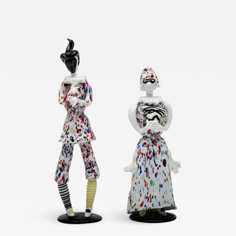Fulvio Bianconi Fulvio Bianconi for Venini Murano Pair of Figurines Arlecchino and Arlecchina
