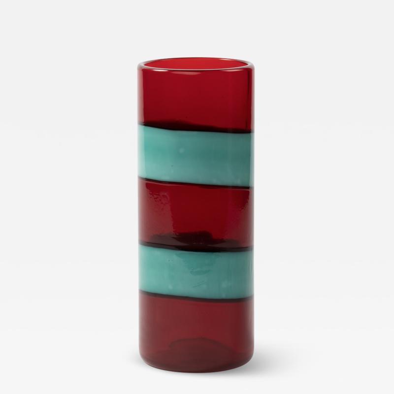 Fulvio Bianconi Vintage Venini Murano Fulvio Bianconi A fasce Orizzontali Blown Glass Vase