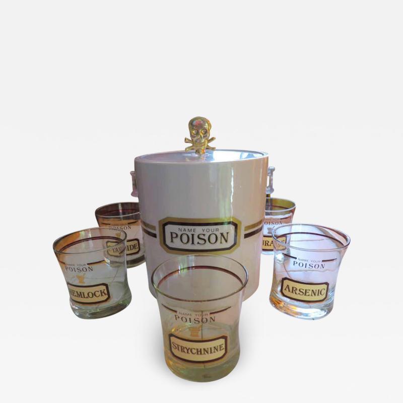 Fun Set of Six Name Your Poison Rocks Glasses Ice Bucket Mid Century Modern