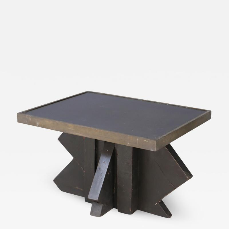 Futurist Coffee Table in Sculpted Wood and Brass 1920s