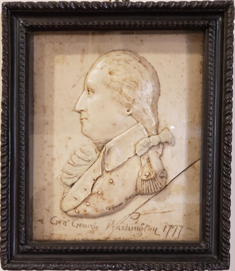 G Rouse General George Washington Wax Portrait Shadow Box Framed Display