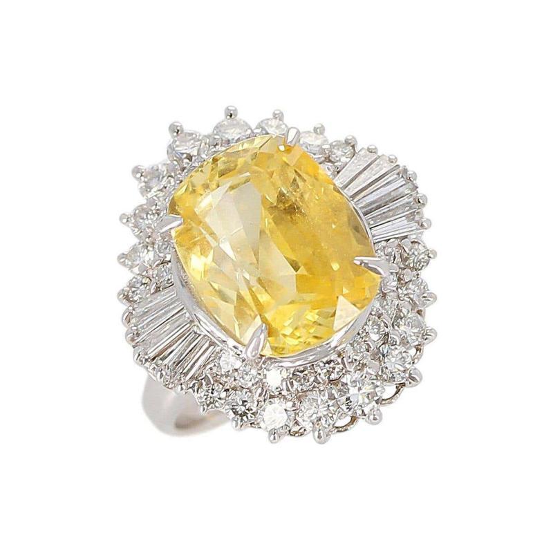GIA Certified 8 18 Carat Oval No Heat Ceylon Yellow Sapphire and Diamond Ring