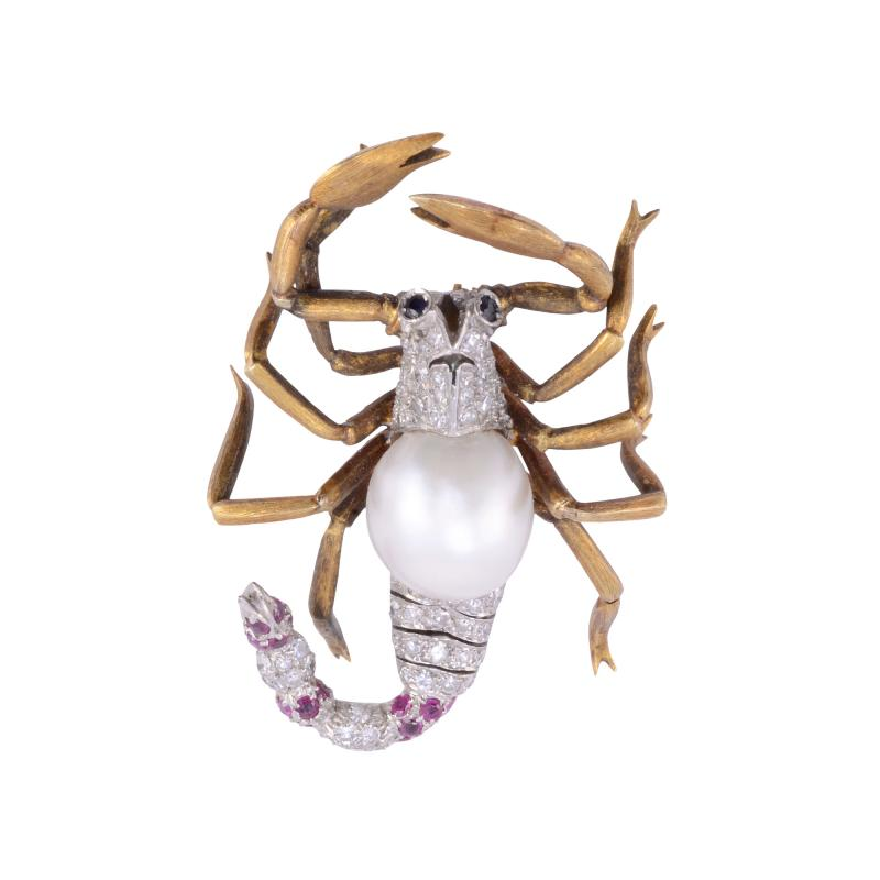 GIA Certified Cultured Saltwater Pearl Diamond Scorpion Pin