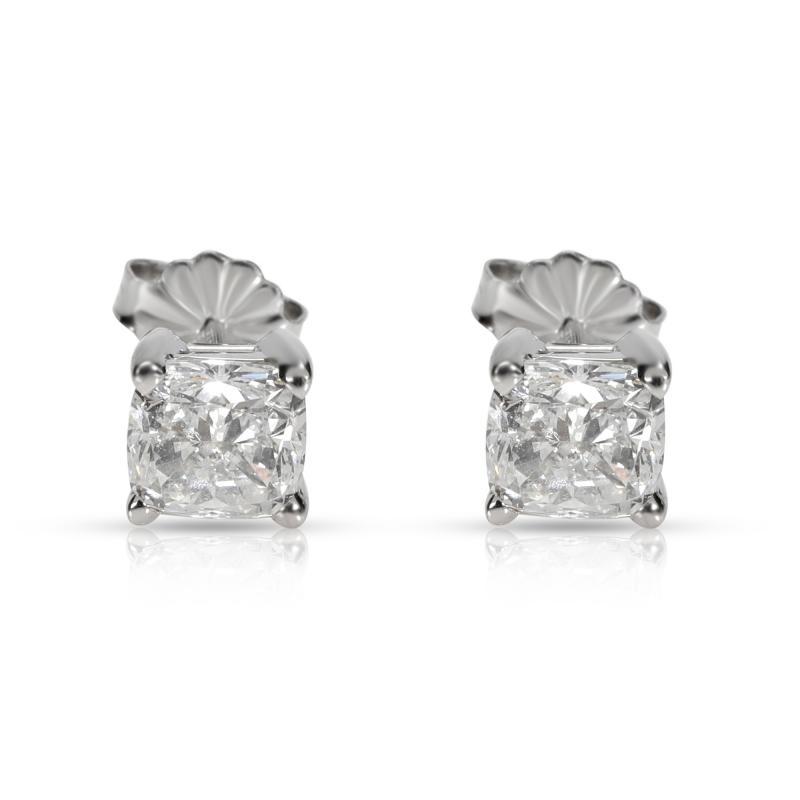 GIA Certified Cushion Diamond Stud Earring in 14K White Gold E VVS2 VS2 2 03 CTW