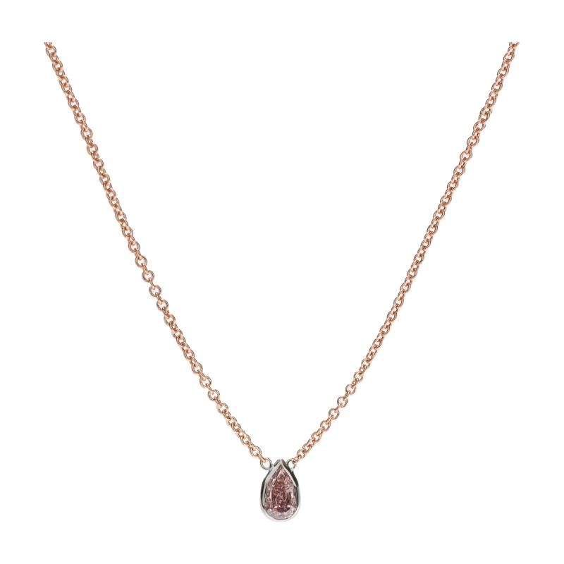 GIA Certified Fancy Intense Pink I1 Pear Diamond Necklace in 14KT Gold 0 50 Ct
