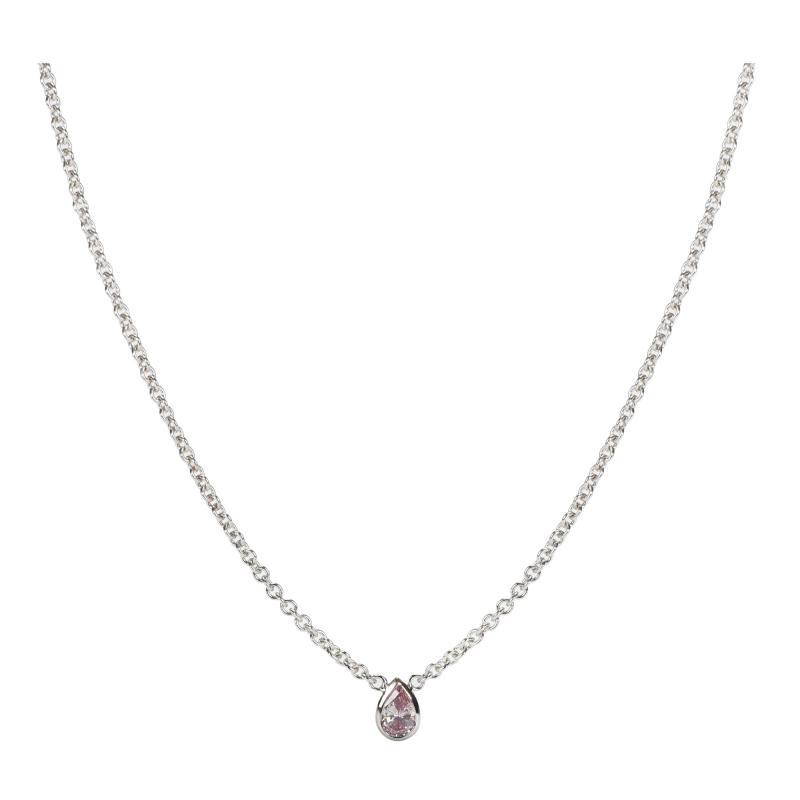 GIA Certified Fancy Intense Pink Pear Shape Bezel Necklace I1 clarity 0 17 Ct