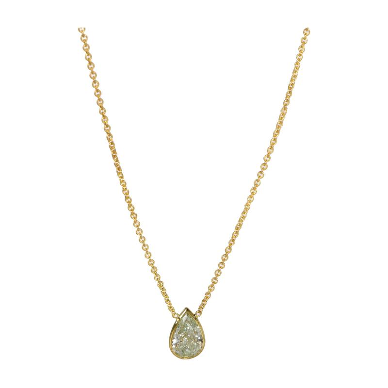 GIA Certified Fancy Yellow Diamond Necklace in 14K Yellow Gold SI1 1 61 CTW