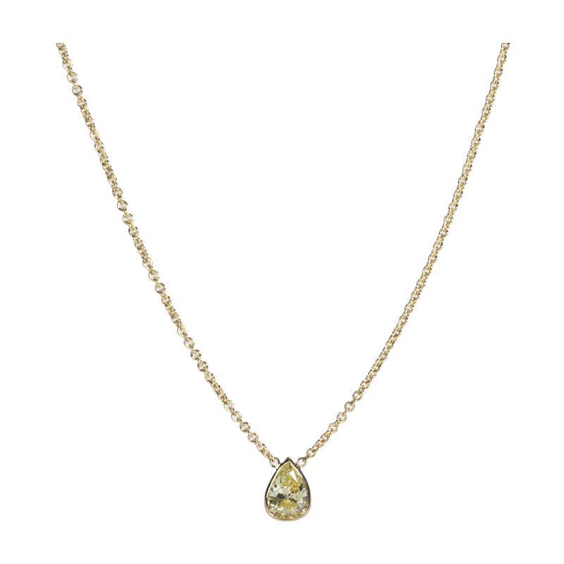 GIA Certified Pear Shape Fancy Intense Yellow VS2 Diamond Necklace 0 75 Ct