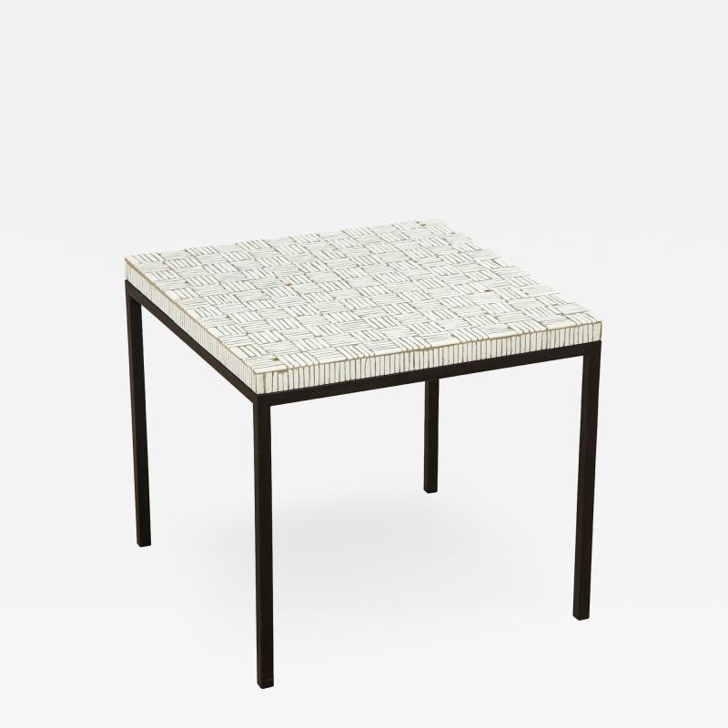 GLASS TILE TOP TABLE ON IRON BASE