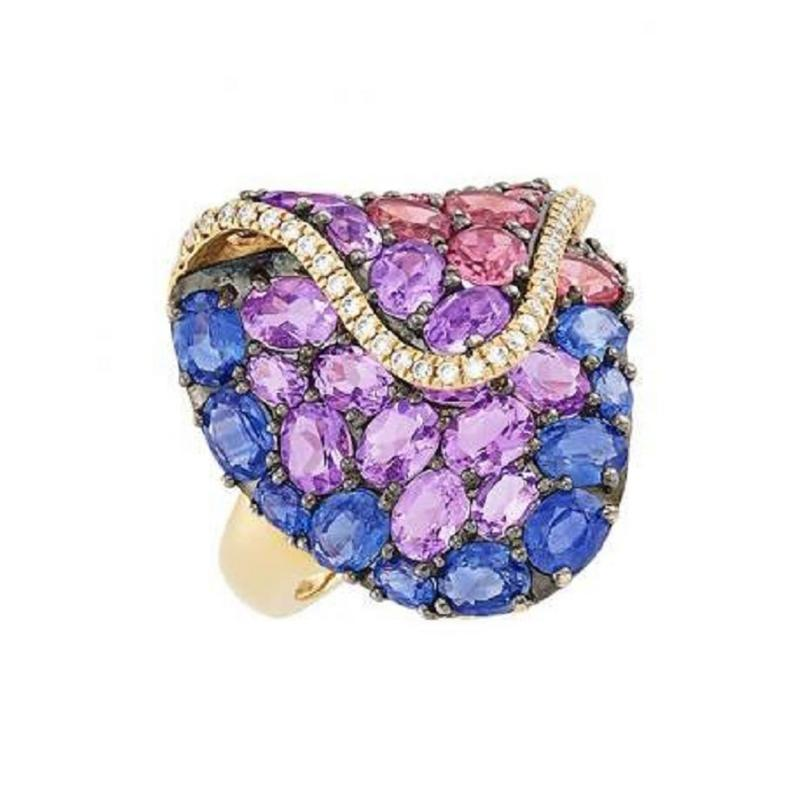 GOLD AND BLACKENED GOLD MULTI SAPPHIRE RING WITH DIAMONDS