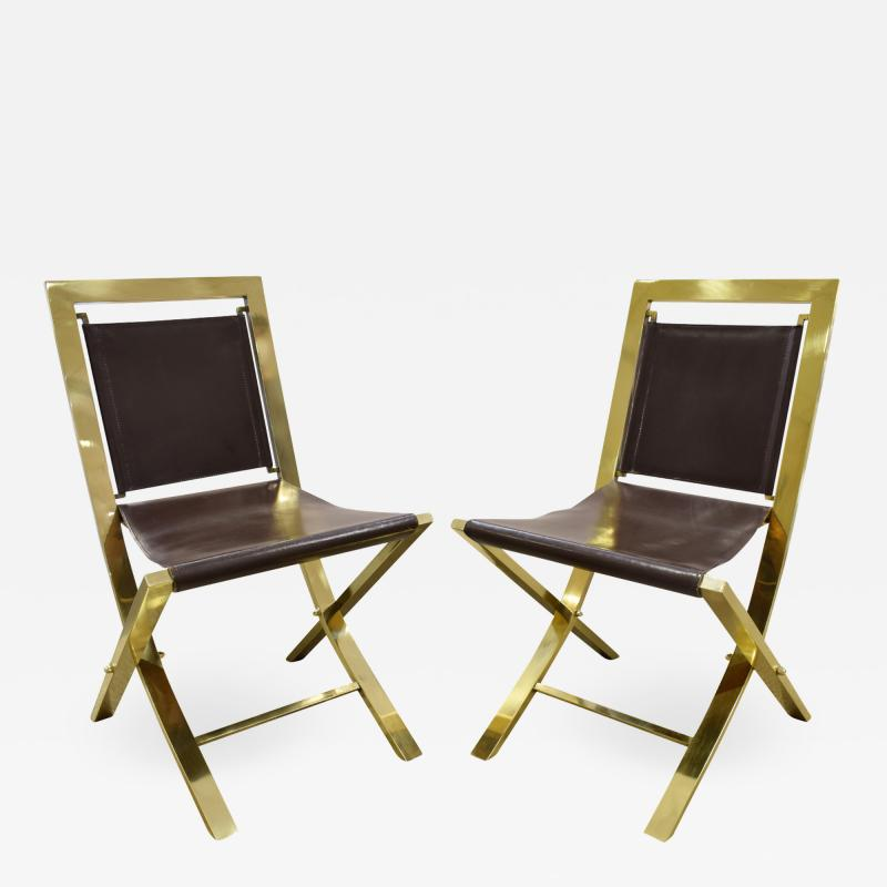 Gabriella Crespi Gabriella Crespi Pair of Chairs in Polished Brass and Leather 1970s Signed