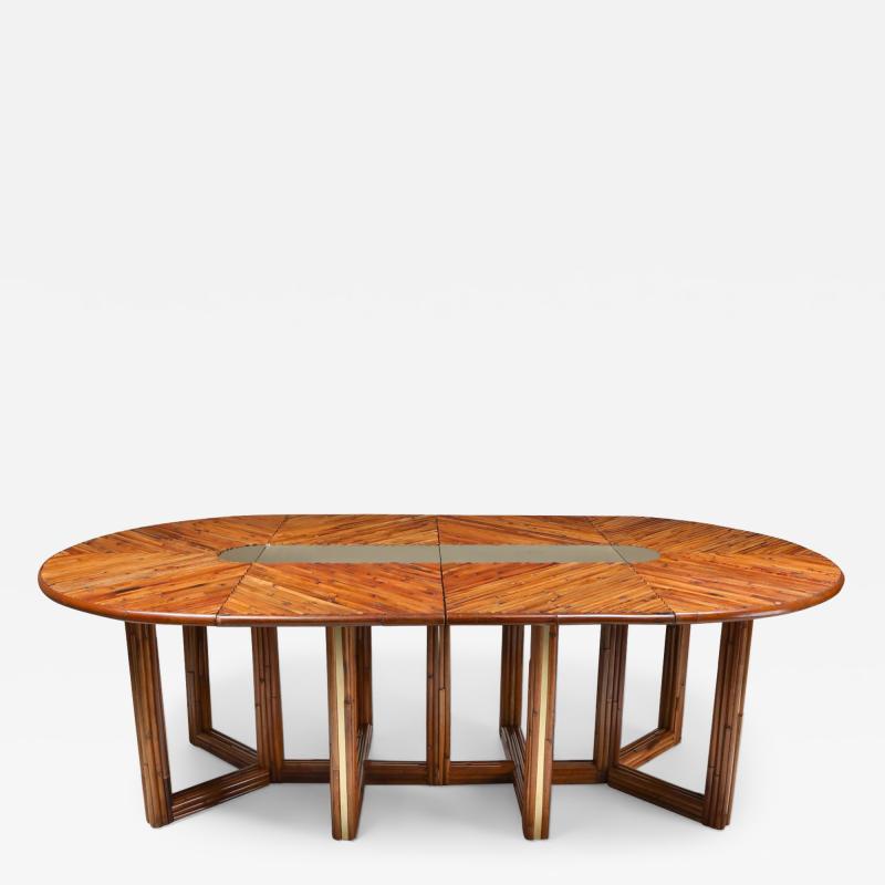 Gabriella Crespi Gabriella Crespi Style Adjustable Dining Table in Rattan 1970s
