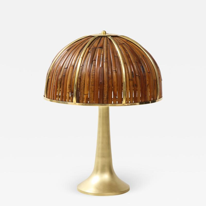 Gabriella Crespi Large Bamboo and Brass Fungo Table Lamp