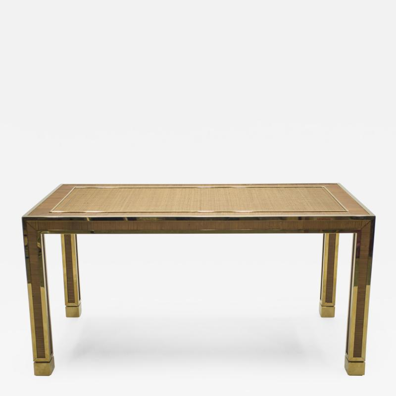 Gabriella Crespi Mid century brass and bamboo dining table style of Crespi 1970s