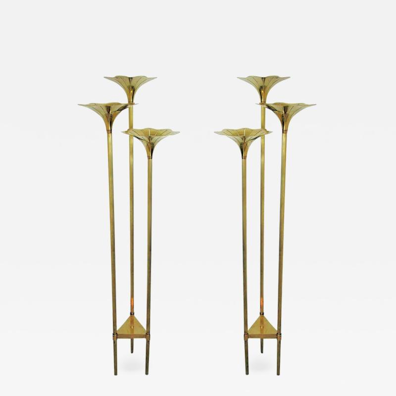 Gabriella Crespi Pair of Mid Century Modern Brass Floor Lamps Gabriella Crespi Style Italy 1960s