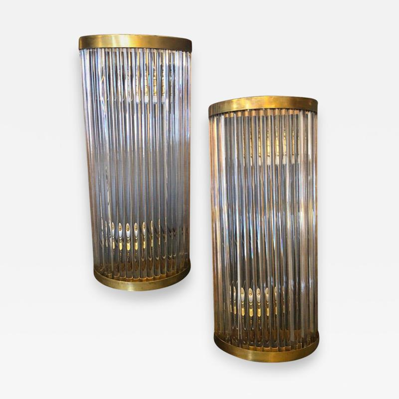 Gabriella Crespi Set of two Mid Century Modern Brass and Glass Italian Wall Sconces circa 1970