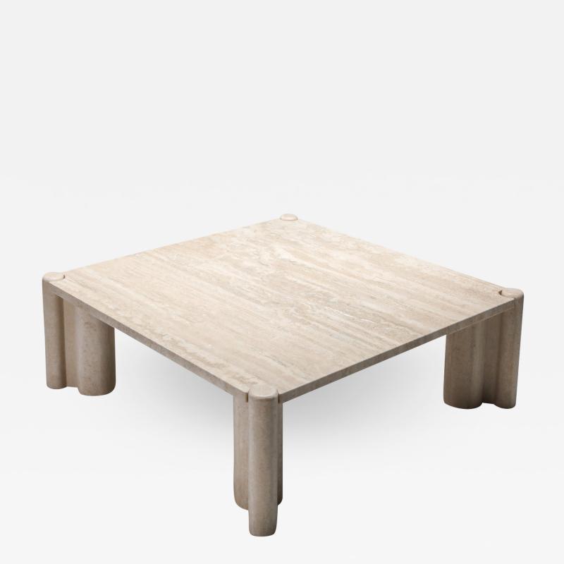 Gae Aulenti Gae Aulenti Jumbo Travertine Square Coffee Table 1960s
