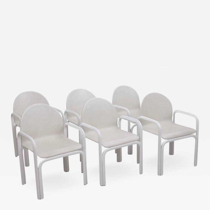 Gae Aulenti Set of Six White Gae Aulenti 54A Arm Chairs in Leather for Knoll 1975