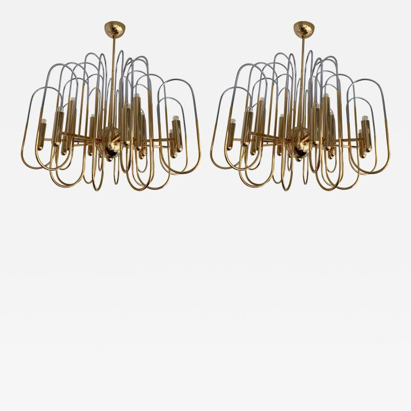Gaetano Sciolari Brass Chandeliers Astrolab by Sciolari Italy 1970s