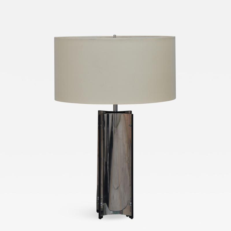 Gaetano Sciolari Chic Italian 70s Chrome Lamp with Custom Drum Shade by Gaetano Sciolari