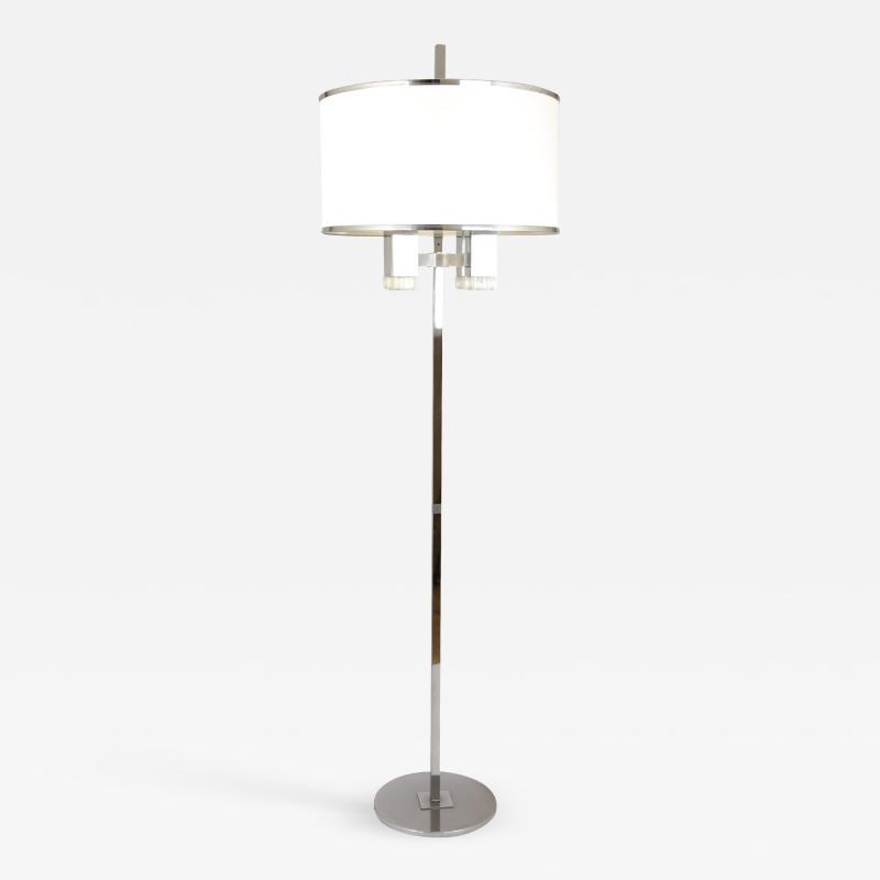 Gaetano Sciolari Chrome floor lamp with fabric shade by Gaetano Sciolari 1970s
