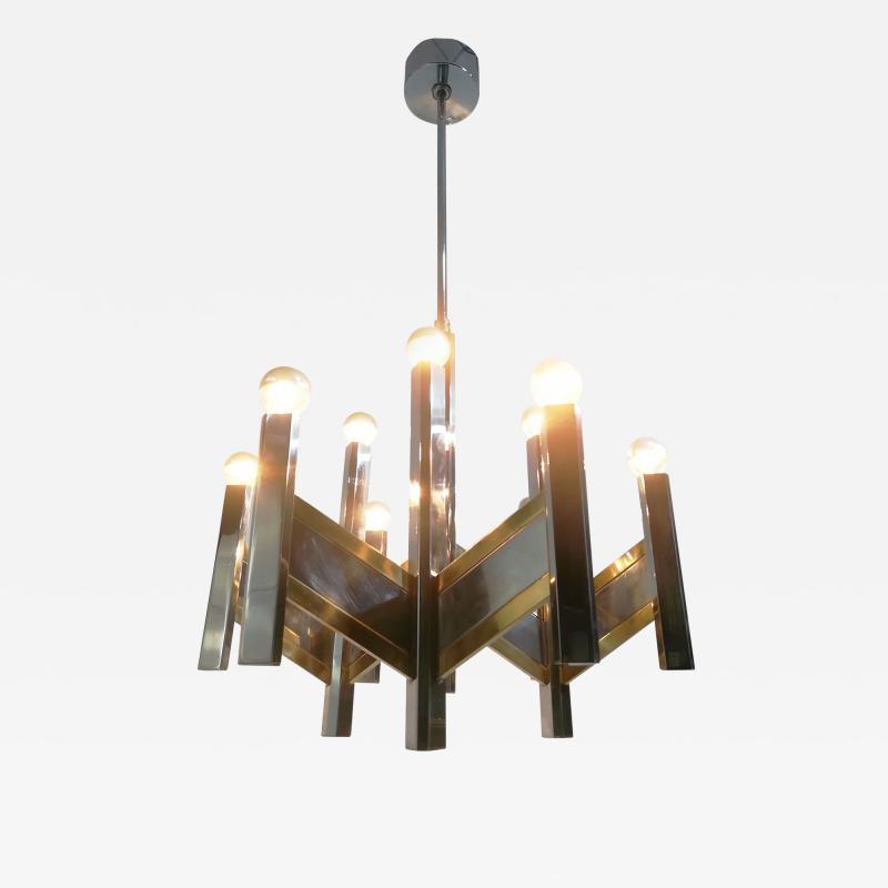 Gaetano Sciolari Elegant Midcentury Chrome and Brass Geometric Sciolari Chandelier