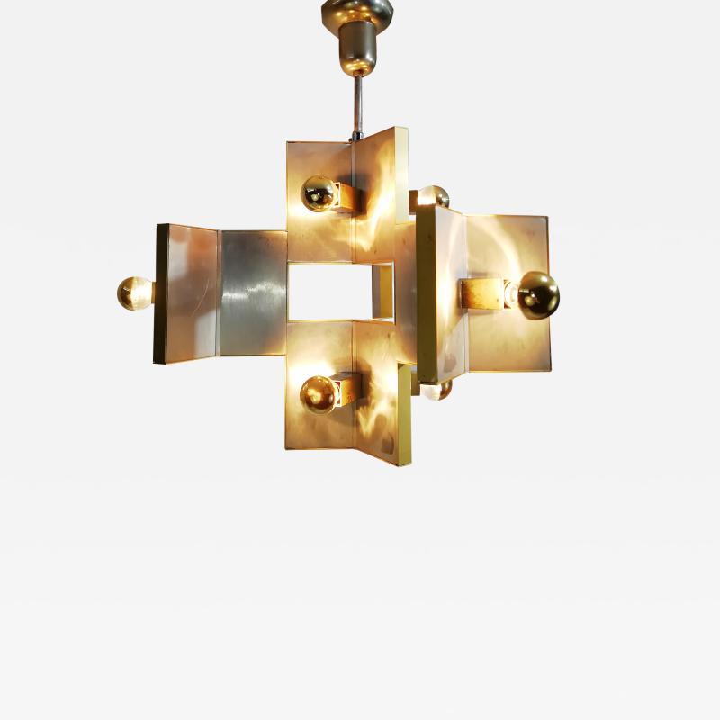 Gaetano Sciolari Elegant Sculptural Brass and Mirrored Metal Chandelier from Sciolari 1970s