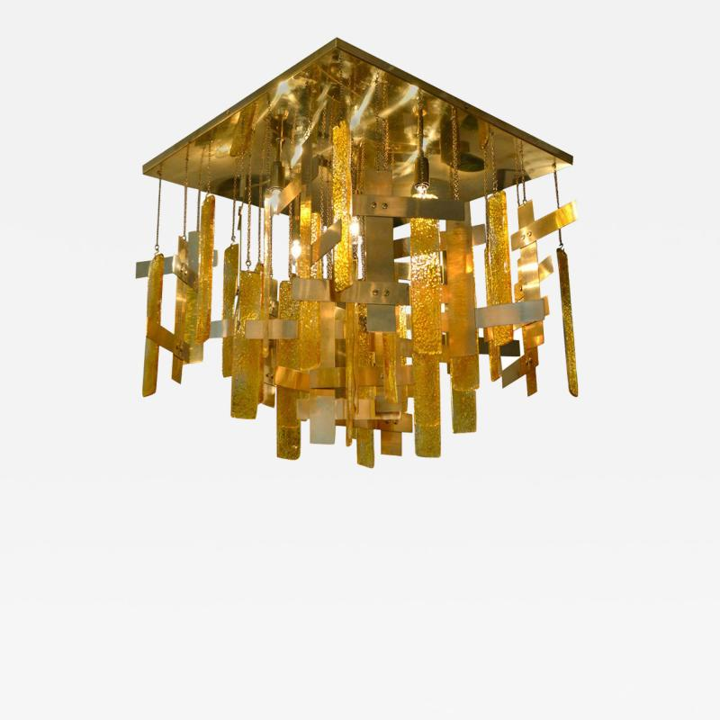 Gaetano Sciolari Gaetano Sciolari Brass Murano Glass Flush Mount Ceiling Fixture