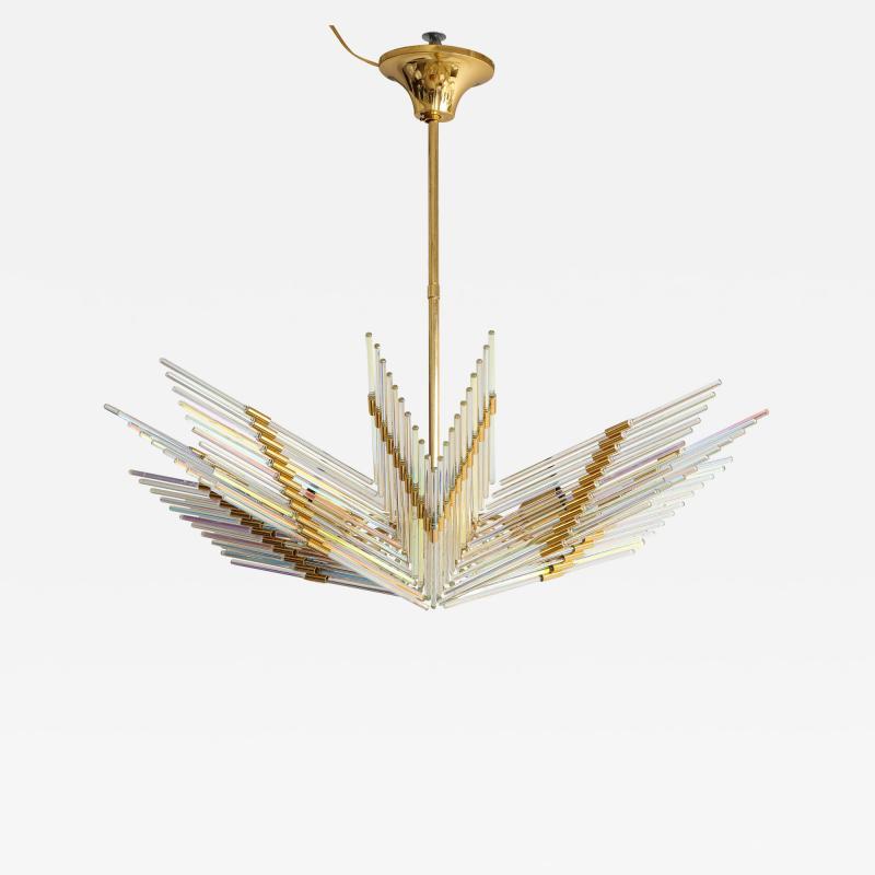Gaetano Sciolari Gaetano Sciolari Iridescent Rod and Gold Plated Chandelier