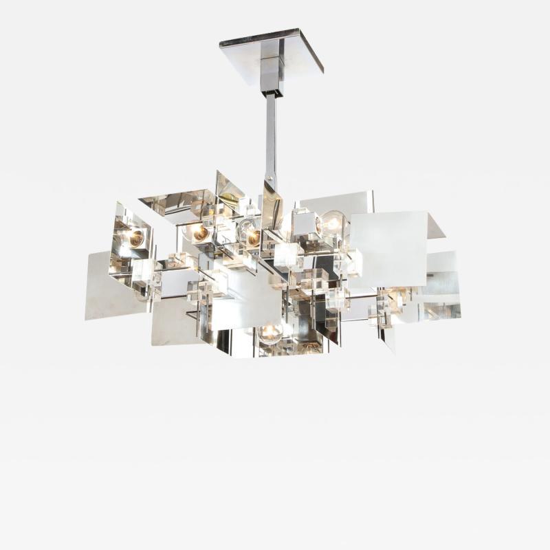 Gaetano Sciolari Gaetano Sciolari Mid Century Modern Cubist Polished Chrome Lucite Chandelier